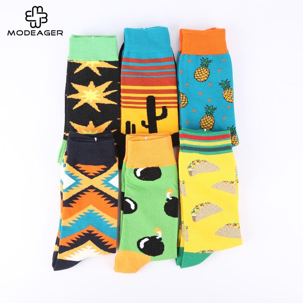 Modeager Brand Fashion Mens Cotton Socks Bomb Cactus pineapple TACOS printed Funny Novelty Skate Cool Socks for Men