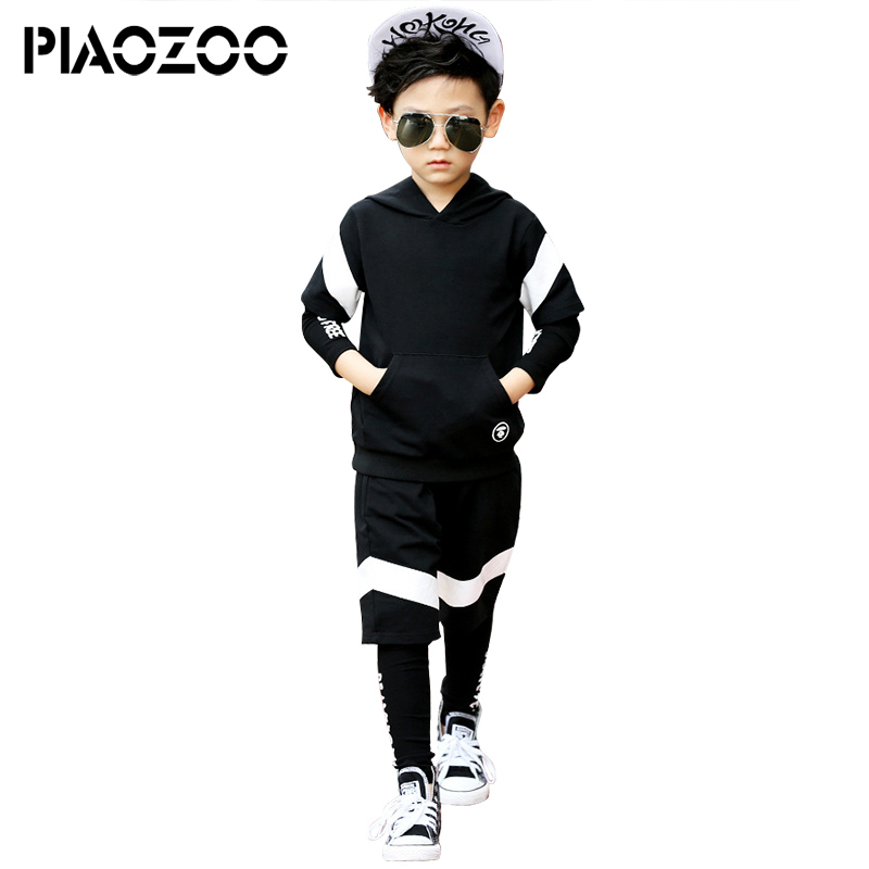 цена Boys clothing set Autumn streetwear hoodie fake 2 piece Sport Tracksuit Casual Set cotton Kids Outfits Hooded Sweatshirt PantP20