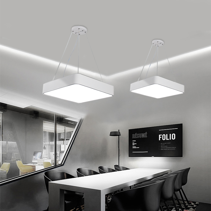 Moderne Kantoor LED Hanglampen 24 W 36 W 48 W AC85 265V Vierkante ultra dunne aluminium hanglamp Zwart /wit - 5