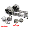 Mato Metal black Tracks sprockets early with metal caps idler wheels with bearings for Heng Long 3818 1 16 RC Tiger 1 tank