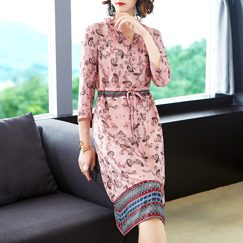 Women Pink Dress Fake Silk High Quality 2019 Summer Print Floral Midi Party Night Dresses Bodycon Slim Tunic Elegant Vintage in Dresses from Women 39 s Clothing