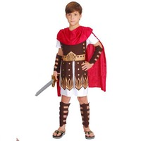 Boy Kids Ancient Rome Italy Warrior Soldier Masquerade Cosplay Costume Fancy Dress Outfit Clothers Carnival Party