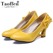 Taoffen Women High Quality Patent Leather Pumps Round Toe Slip On Shollow High Heel Shoes Summer Simple Shoes Women Size 34-43