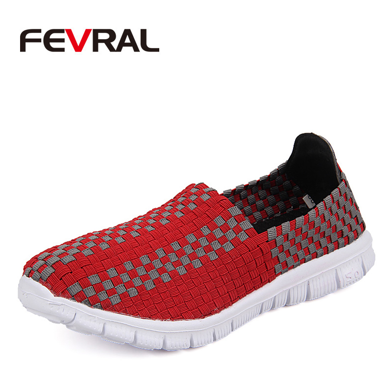 FEVRAL Spring Summer Fashion Hand-Weaved Design Round Toe Mix Color Flat Breathable Shoe ...