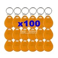 DIYSECUR 100pcs/lot 125Khz RFID Tag Proximity ID Keyfob Key Tag Electronic Key Door Key Yellow