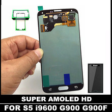 100% AMOLED pantalla Para Samsung Galaxy i9600 S5 G900 G900F Teléfono Móvil Lcd Pantalla Táctil Digitalizador Asamblea con la Etiqueta Engomada