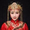 Китайские Традиционные Классические Свадебные Ювелирные Изделия Головной Убор Корона Аксессуары Для Волос Кристалл Имитация Перл Кисти Повязка