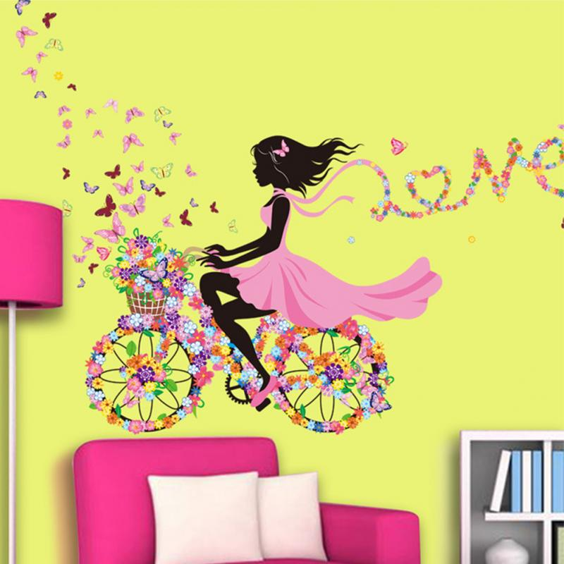 Girl Butterfly Flowers Wall Stickers Home Decor Mural Wall Decoration