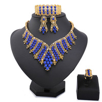 2018 Fashion Gold Color Nigerian Wedding African Beads Jewelry Set Crystal Saudi Jewelry Sets Bracelet Earring