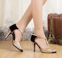 New Gold Glitter Black Suede Trim LATIN SASAL BALLROOM BACHATA Dance Shoes Discount Price