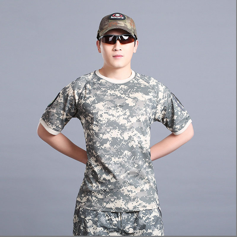 2017 New sports T shirts men Summer quick dry breathable short sleeve clothing O-neck outdoor Camouflage camping POLO shirts