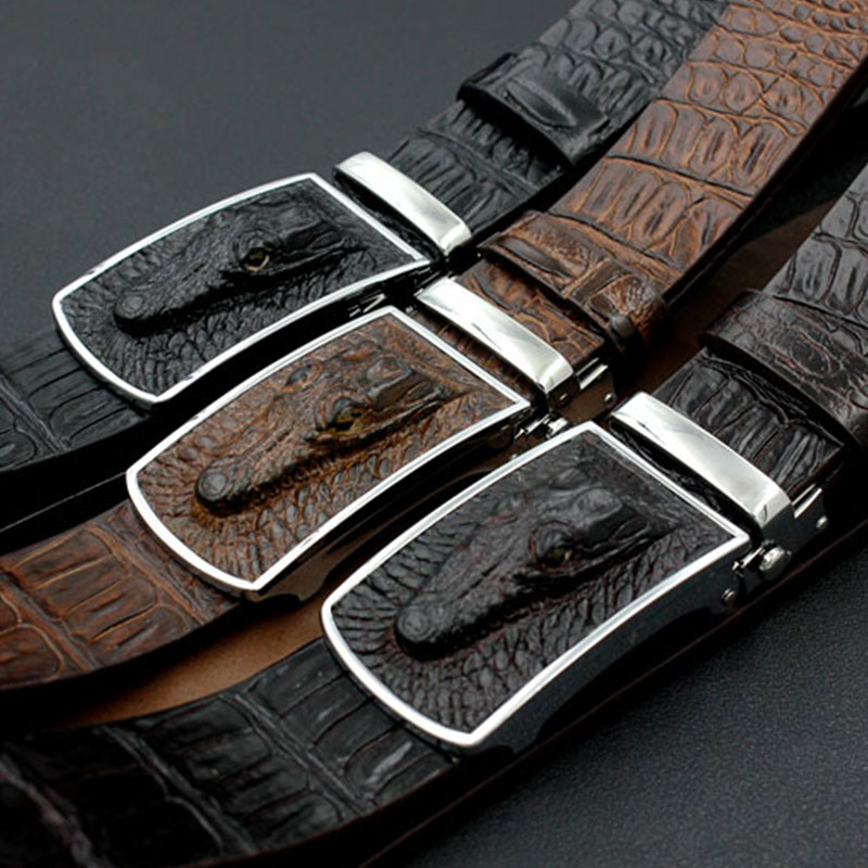 Jaguar Clothing Accessories: Jaguar Crocodile Mens Belts Luxury Cowhide Genuine Leather