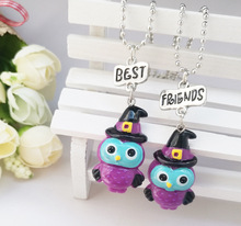 Best Friends BFF cute resin animal owl pendant bead chain necklace, gift for girl free kids jewelry Wholesale
