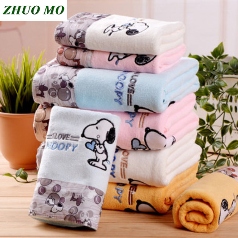 ZHUO MO 3 Piece Quick Drying Cartoon Microfiber Towel Set Bath Towel Face Beach Towel 450g Water absorbent toallas for Bathroom-in Towel Sets from Home & Garden