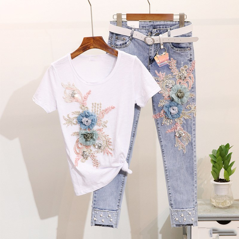 Summer Women 2 Piece Set High Street 2Pcs Embroidery 3D Flower Short Sleeve Tshirt Heavy Work Jean Ripped Hole Denim Pants Suit
