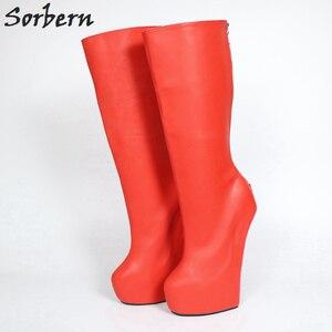 Image 5 - Sorbern bottines rouges verrouillables à dos ouvert pour femmes