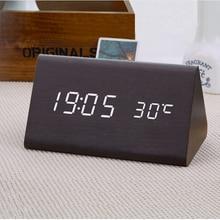 freeship decorative table clocks Control Sensing Alarm Temp dual Display Electronic LED Clock Vintage Wooden Digital Alarm Clock стоимость