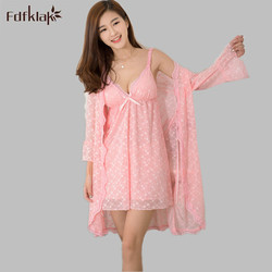 7c9a608f89 Fdfklak 2017 Nightgown Robe Sleeping Womens Dressing Gown Robe Pijama  Feminino Nightgown Robe Sets Sexy Bathrobe Black Pink E816