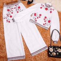 Europe And U S 2018 New Spring Summer Printing Long Sleeve Short Blouse Wide Leg Pants