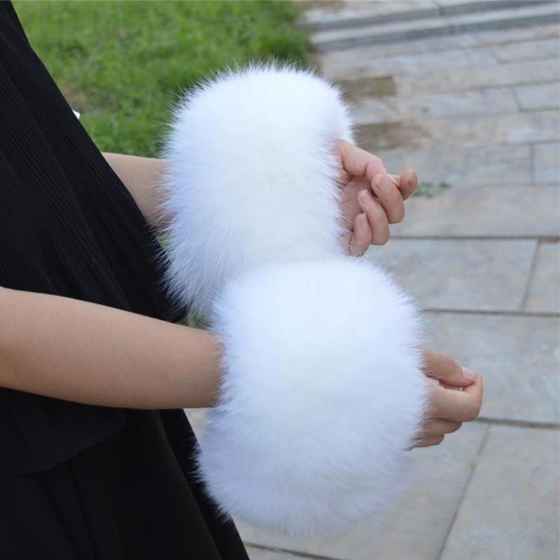 Free Delivery Genuine Fox Fur Arm Warmer Lady Bracelet Real Wristband Glove Raccoon Fur Cuffs L#151
