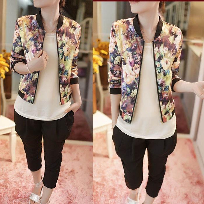 Классическая стандартная разноцветная женская куртка с длинными рукавами и цветочным рисунком стиля кэжуал QIQI HOUSE 2016 2