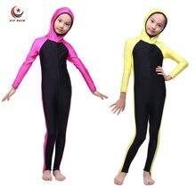 Девушки Полное Покрытие Арабская Ислам Мусульманские Купальники Исламские Дети цельный Купальник Одежда для Пляжа Долго Плавательный Гидрокостюмы Burkinis