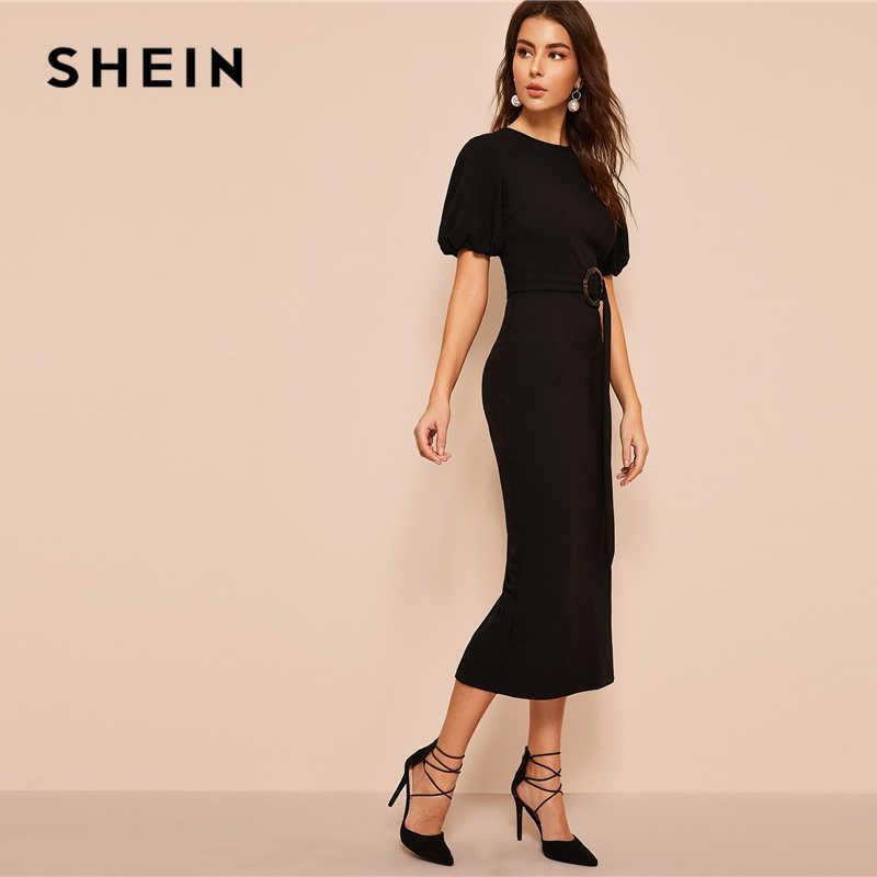 SHEIN Платье С Пышными Рукавами И Поясом Женское Весеннее Черное Классическое Платье С Круглым Вырезом