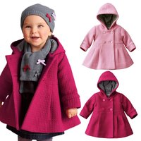 China Baby Girl Toddler Warm Fleece Winter Pea Coat Snow Jacket Suit Clothes Red Pink