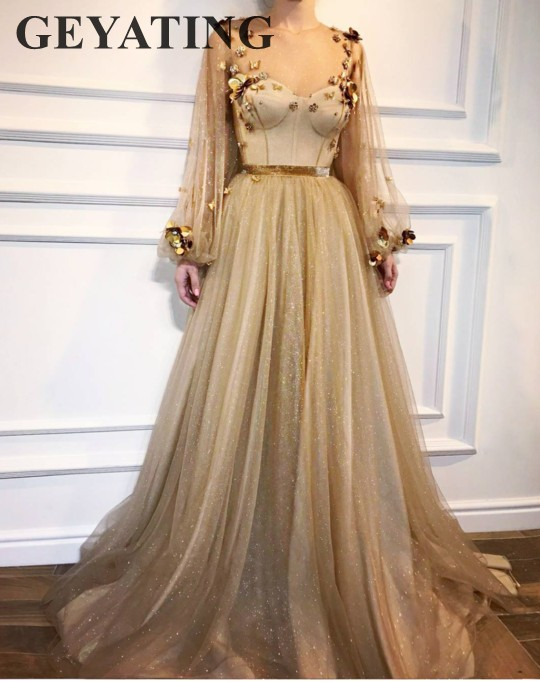 Bling Bling Gold Sequin   Prom     Dresses   2019 Long Sleeves Evening   Dress   A-line Sheer Neck Tulle Beaded Women Formal Party Gowns