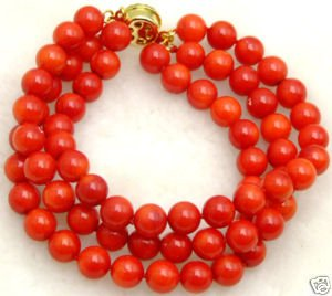 Beautiful! 3 Strands natural High quality Red 6-7mm coral 7.5