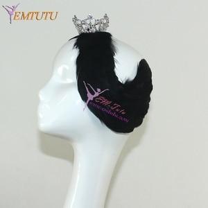 Image 3 - Free Shipping White Black Swan Lake Ballet Headpiece,Feather Headwear Headdress with Crown,Hand Made Nutcracker Hair Headband
