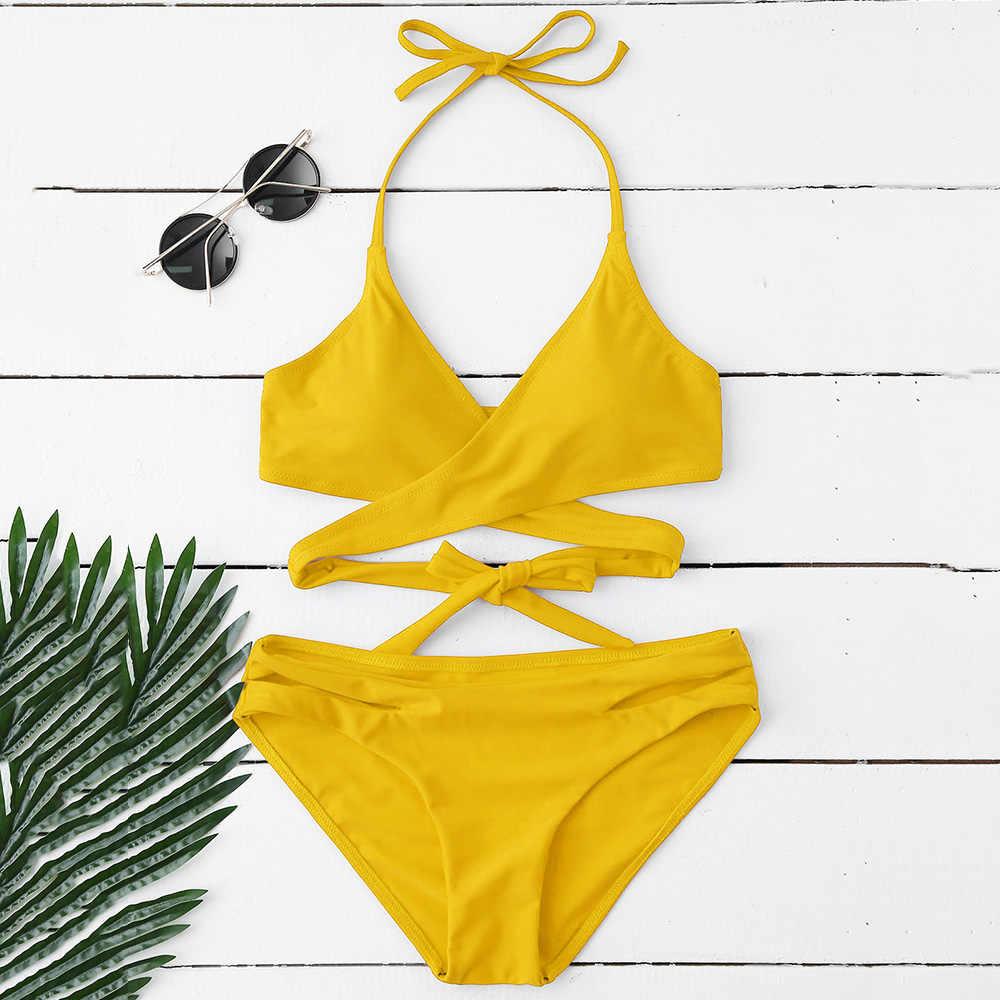 659cc645c2 ZAFUL 2019 Padded Bra and Leaf Print Bottoms Bikini Set Mid Waist ...
