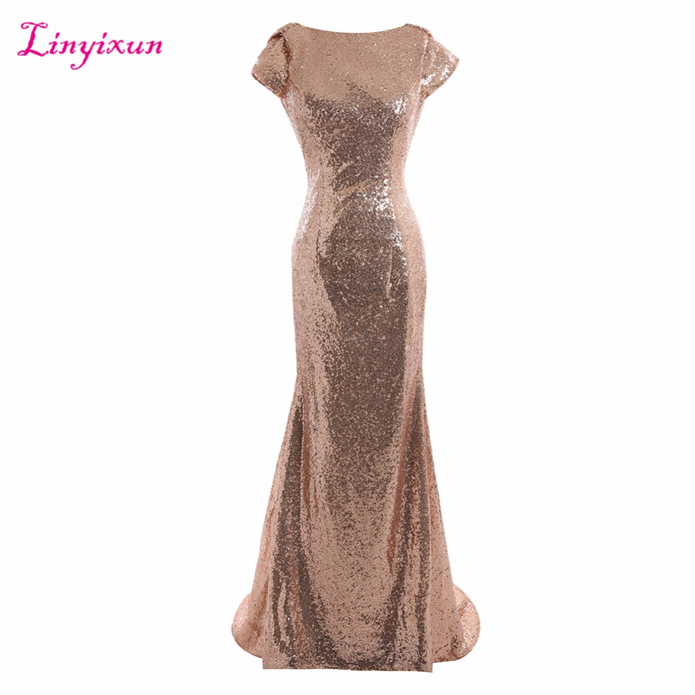Linyixun Real Photo Champagne gold Long   Bridesmaid     Dresses   2017 Sequined Short Sleeve Floor Length   Dress   For Wedding Party   Dress