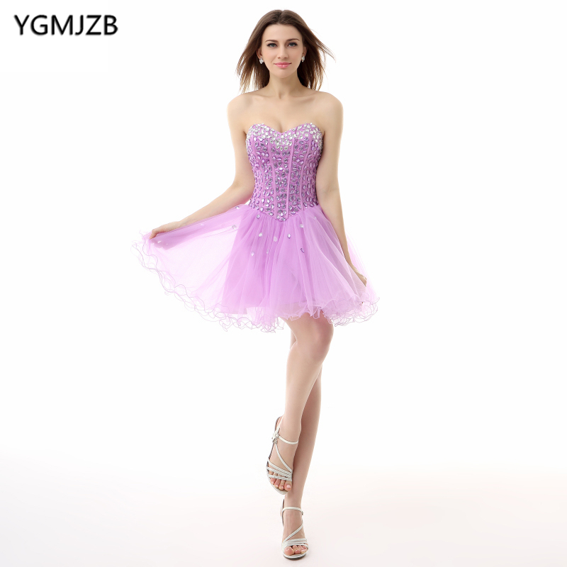 Little   Dress   Purple   Cocktail     Dresses   2018 A Line Sweetheart Sparkly Beaded Crystal Organza Party   Dress   Backless Homecoming   Dress