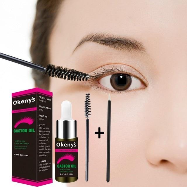c31c3e05a6a 1PC Hair Essential Oil Natural Castor Oil Eyelashes Eyebrow Growth Prevent  Skin Aging Castor Organic Serum Mascara 15 ML