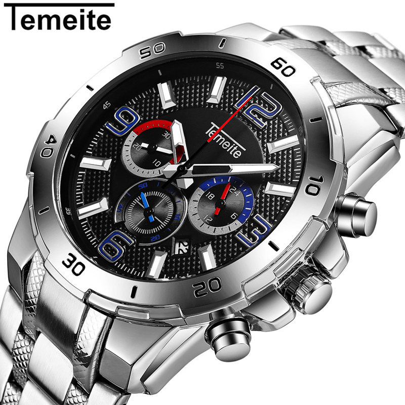 Men Watches Luxury Brand Stainless Steel Quartz Sport Watch For Men Waterproof Men's Wristwatch Chronograph Clock Male Relogio 2017 weide men watches stainless steel lcd digital display classic sport waterproof famous luxury brand quartz watch wristwatch