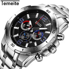 Men Watches Luxury Brand Stainless Steel Quartz Sport Watch For Men Waterproof Men's Wristwatch Chronograph Clock Male Relogio все цены