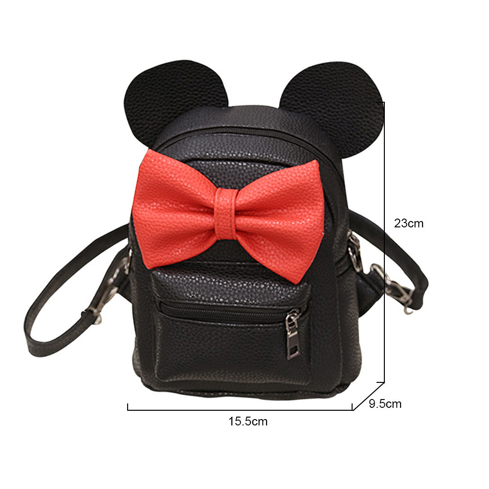 New Mickey Backpack Pu Leather Female Mini Bag Women's Backpack Sweet Bow Teen Girls Backpacks School Lady Bag Shoulder Bag #4