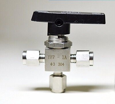 304 Stainless steel Tee 3 Ways Compression fitting shut off Ball Valve 915 PSI PN 6.4 Fit For 12mm O/D Tube 1 2 bsp female 304 stainless steel flow control shut off needle valve 915 psi water gas oil