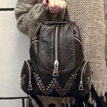 Lodogsow Брендовые женские заклепки рюкзак для подростков мягкой промывают кожа Многофункциональный рюкзак дорожная сумка черный Bolsos Mujer