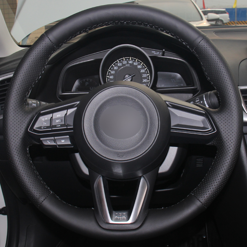 Black Synthetic Leather Steering Wheel Cover For Mazda 3 Axela 2017