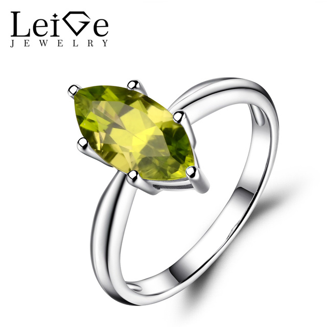 leige jewelry solitaire ring natural peridot wedding rings 925 sterling silver marquise cut gemstone august birthstone - Peridot Wedding Rings