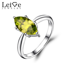 Leige Jewelry Solitaire Ring Natural Peridot Wedding Rings 925 Sterling Silver Marquise Cut Gemstone August Birthstone Ring