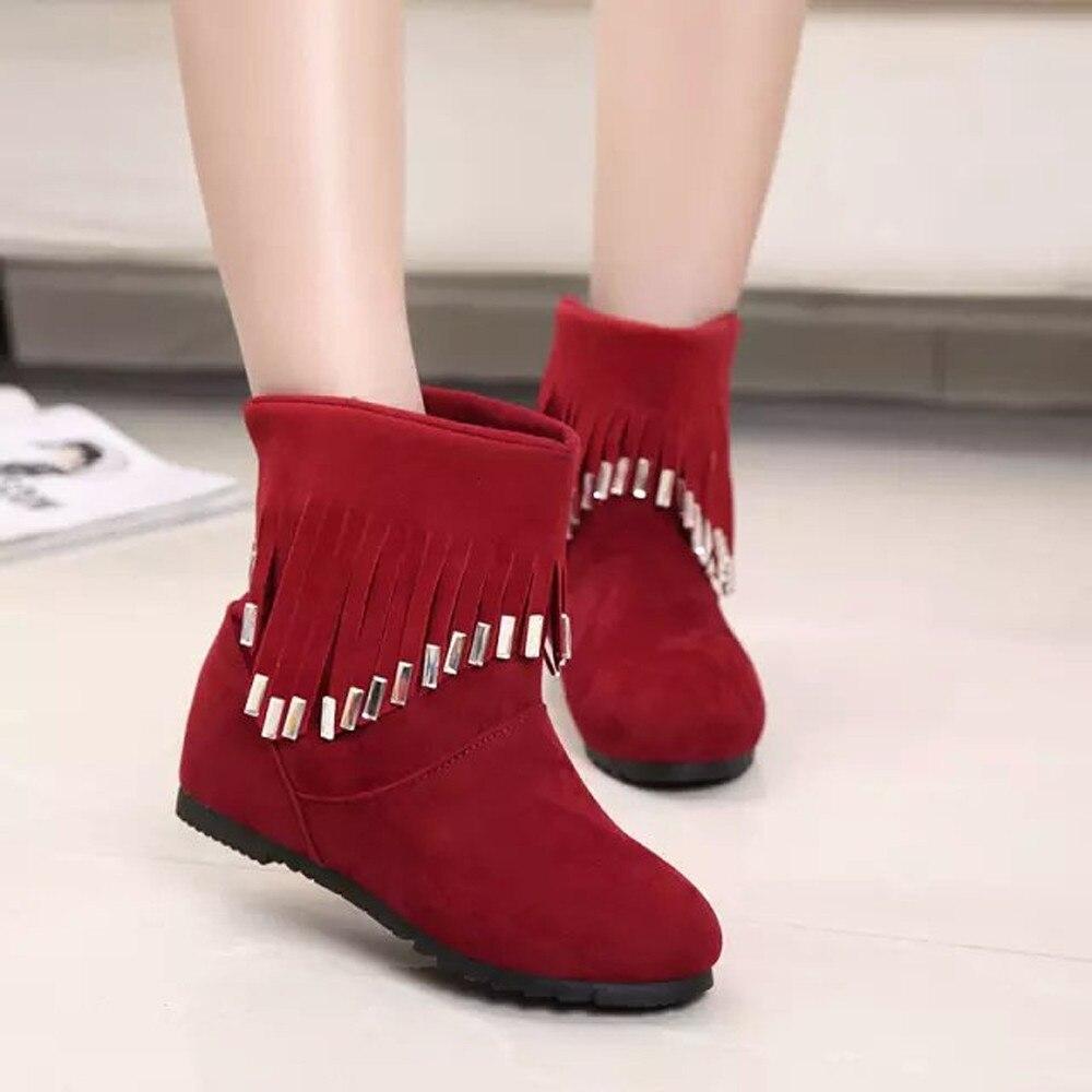 Cheville Femmes rouge Plat on Noir Chaussures Tassel Low T80726 Bottes Casual Martin Slip 44fx7Yr