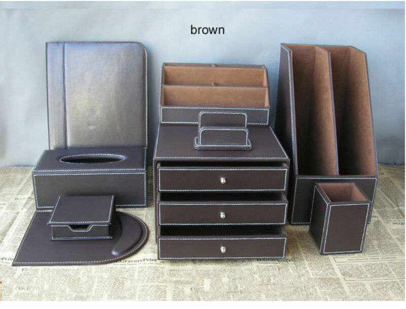 Popular leather desk accessories buy cheap leather desk - Leather desk organizer set ...