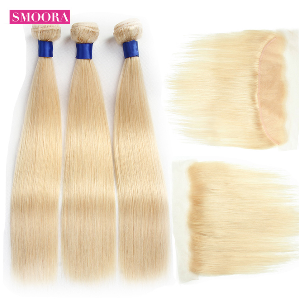 613 Blonde Bundles with Frontal 13*4  Peruvian Straight Human Hair Ombre Bundles with Frontal T1B/27 30 99J Burgundy Non Remy-in 3/4 Bundles with Closure from Hair Extensions & Wigs    1