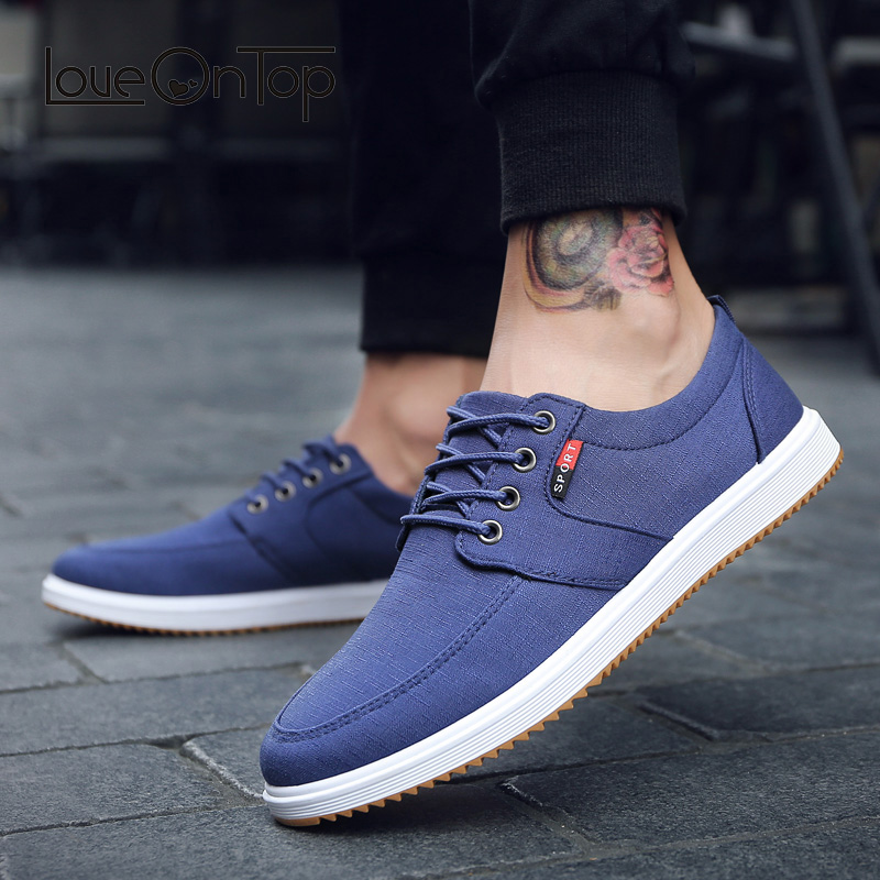 Loveontop men's canvas shoes comfortable wearable breathable casual walking shoes