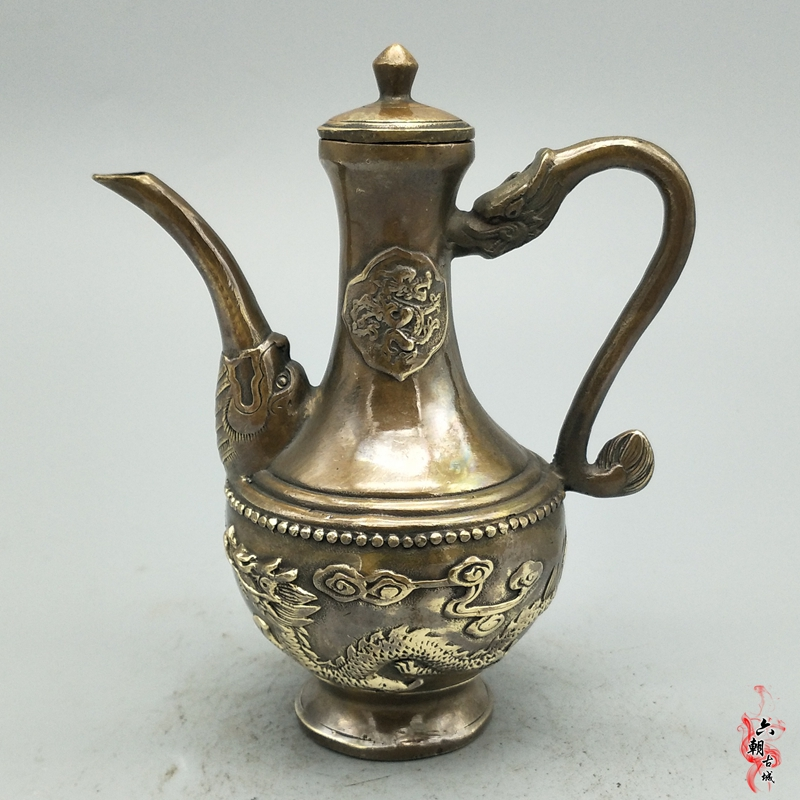 Rare old Ming Dynasty copper Double Dragon Pot Decoration Kettle Teapot Jug,best collection& adornment,Free shipping