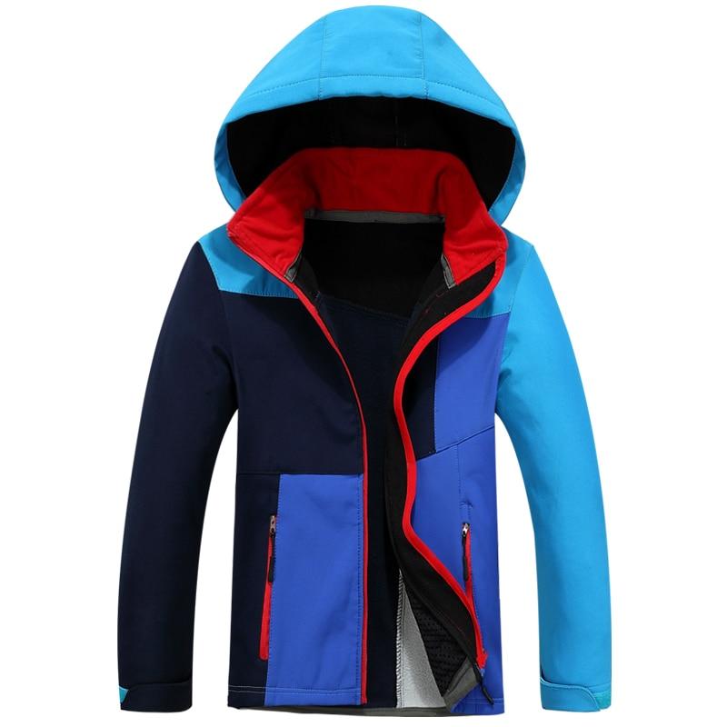 ФОТО autumn winter Children coat hood Ski Jacket boy girl windproof waterproof outdoor camping hiking