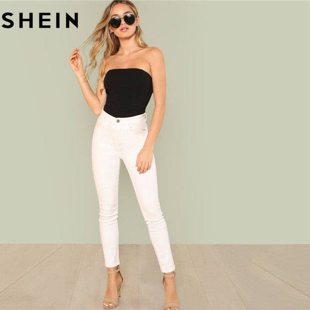 SHEIN Black Sexy Skinny Mid Waist Women Bodysuits 2018 Summer Party Go Out Slim Fitted Plain Sleeveless Strapless Bodysuit New 4